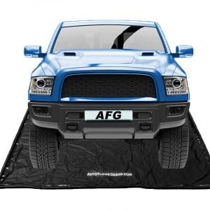 Blue Truck on Autofloorguard containment mat